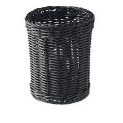 Dispensador de talheres palha sintetica redondo cor preto