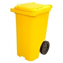 Contentor lixo 120 litros c/ pedal amarelo
