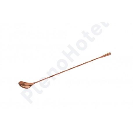 Colher de bar inox c/ revestimento na cor cobre 30cm